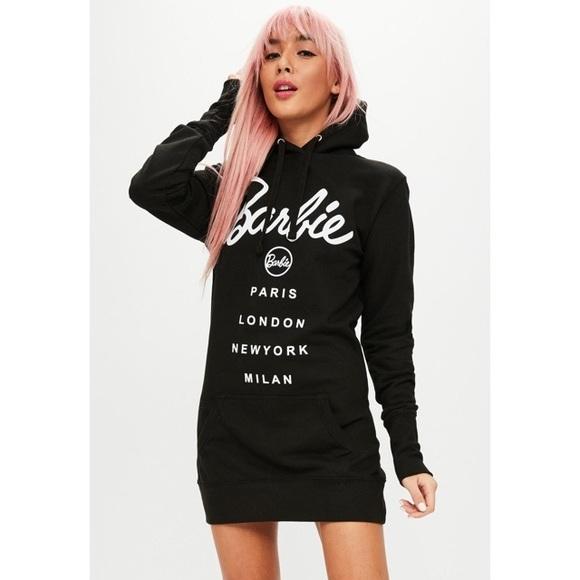 a577e69bb0 Barbie x Missguided Black Hooded Sweater Dress. M 5b062cd76bf5a6bad6dad03a